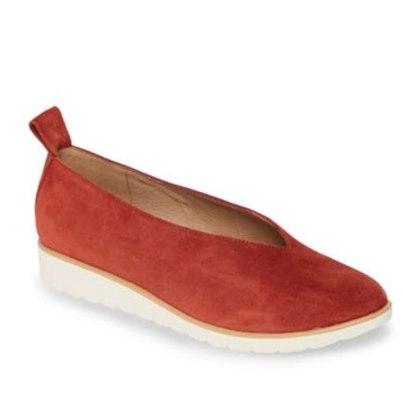 Eileen Fisher Humor Suede Leather Wedge Flats 10